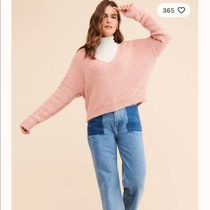 NWT Free People Pink Cozy V Neck Easter Sweater